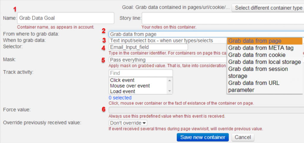Customizing a Grab Data Goal