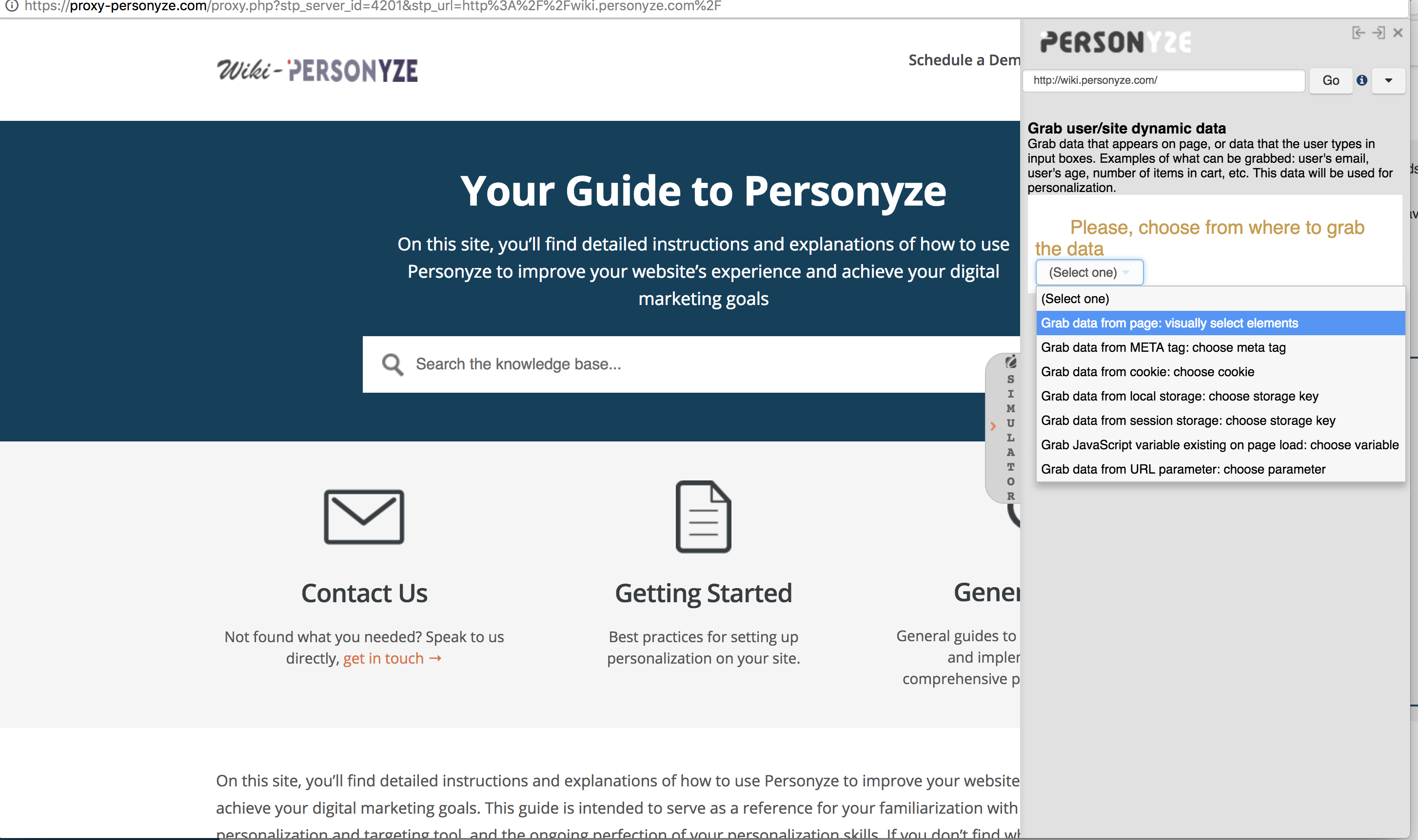 Grab Visitor Attributes from Site Containers – Personyze Support